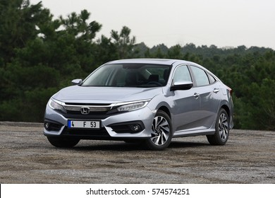 ISTANBUL - FEBRUARY: The new Honda Civic with the tenth generation of gray color. February, 2017 Istanbul. Japanese automotive brand established by Soichiro Honda