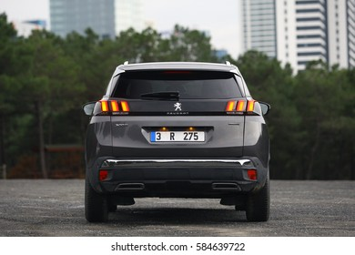 ISTANBUL - FEBRUARY: The rear lights of the new Peugeot 3008 SUV with sharper lines. February, 2017 Istanbul. Peugeot the French car bicycle and motorcycle brand, today is part of PSA Peugeot Citroen.