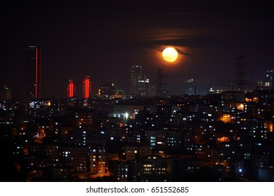 Istanbul fener district at night with full moon