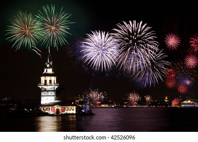 Istanbul with fireworks. Salacak, Maiden Tower