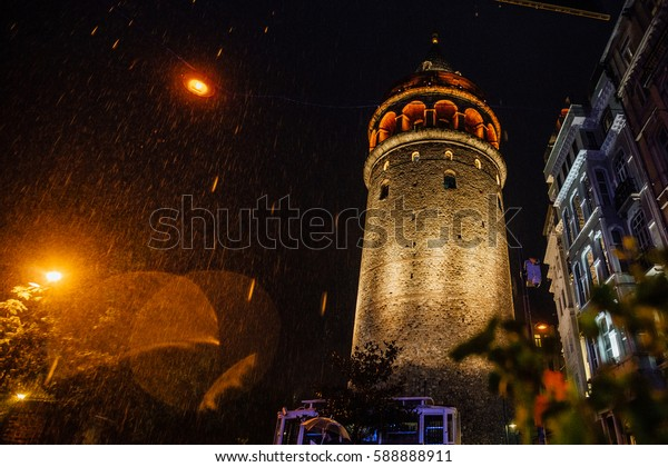 Istanbul, Galata Tower. the architecture type in the rain. Nice bokeh. Tourism Soft focus and slight noise of the atmosphere for lifestyle.