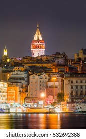 Istanbul, Galata tower and bridge at night