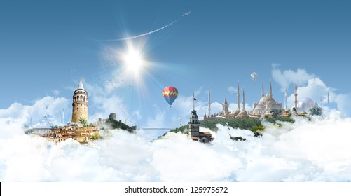 Istanbul Heaven - photographic composition of famous landmarks of Istanbul, Turkey
