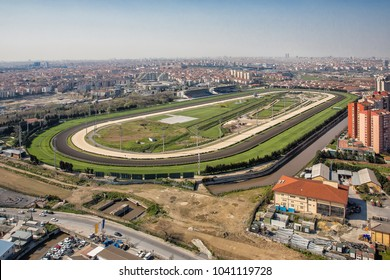 Istanbul horse racing hippodrome, Istanbul , Turkey. Aerial photo shooting from a helicopter.