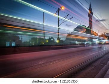 Istanbul, Istanbul/Turkey - Sept 15, 2019 : Light Trail Lights at Sulaymaniyah Mosque Istanbul, Turkey