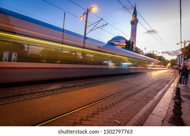 Istanbul, Istanbul/Turkey-Sept 12, 2019: Moving Tram trail light at Sulaymaniyah Mosque Istanbul Turkey