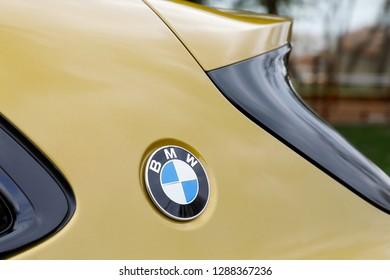 ISTANBUL - JANUARY 19, 2019: Sign of a BMW logo on car. BMW is a vehicle manufacturing company from Germany.
