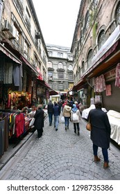 ISTANBUL - January 2019 : People in the Grand Bazaar in Istanbul, Turkey. One of the largest & oldest covered markets in the world. More than 58 streets, 4000 shops, 250k-500k visitors daily
