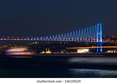 ISTANBUL - JUL 3: Landscape with Ataturk Bridge (Bosphorus Bridge) in the night on July 3, 2012 in Istanbul, Turkey. Ataturk Bridge is a first suspension bridge over the Bosphorus Strait.