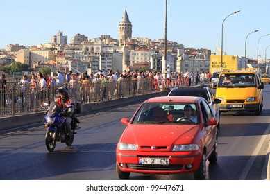 ISTANBUL - JULY 22: Traffic on Galata Bridge on July 22, 2011 in Istanbul. Due to increasing traffic & air pollution, Istanbul became one of most polluted city also planned for return of tram.
