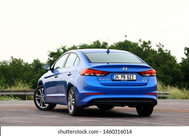 ISTANBUL - JULY 24, 2019: Hyundai Elantra in South Korea, is a compact car produced by the South Korean manufacturer Hyundai since 1990.