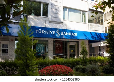 ISTANBUL - JULY 29, 2018: Branch view of a private bank in Turkey. The image is captured on Bagdat Avenue of Kadikoy district located on Asian side of Istanbul.