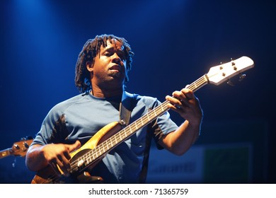 ISTANBUL - JULY 8: Jazz musician Victor Wooten played at the Cemil Topuzlu Open Air Theater, July 8, 2009, in Istanbul, Turkey