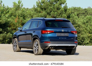 ISTANBUL - JULY: Seat's everyday life and intelligent urban 4Drive SUV model new Seat Ateca, July, 2017 Istanbul . SEAT, S.A. Martorell is a Spanish automobile manufacturer based in Spain.