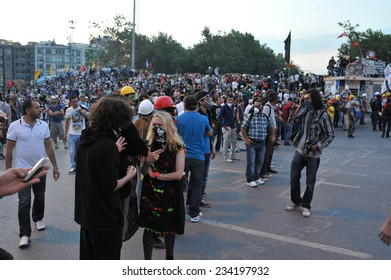 ISTANBUL - JUN 17: In Taksim Gezi Park, protests sparked by plans to build on the Gezi Park have broadened into nationwide anti government unrest on June 17, 2013 in Istanbul, Turkey. Taksim square
