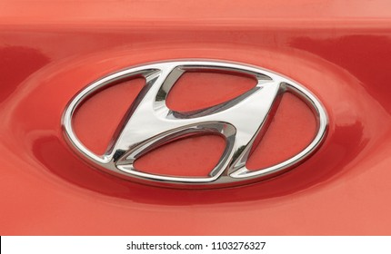 ISTANBUL - JUNE 01, 2018: close-up logos of the Hyundai automobile brand. Hyundai Motor Company, South Korea-based multinational automotive company.
