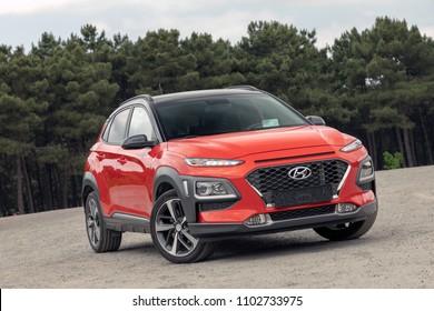 ISTANBUL - JUNE 01, 2018: Hyundai brand new fast-growing small class crossover model Kona. Hyundai Motor Company, South Korea-based multinational automotive company.