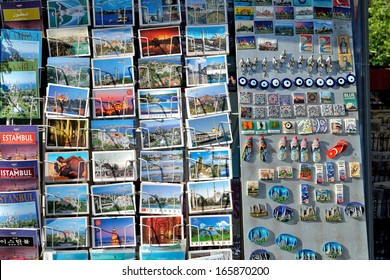 ISTANBUL - JUNE 09, : Colorful Turkish postcards offered for sale at the Sultanahmet Square on June 9, 2013 in Istanbul, Turkey. It is a popular souvenir for tourists.