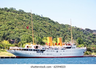 ISTANBUL - JUNE 10: Savarona, the yacht where Ataturk had cabinet meetings, used by some businessmen to be with foreigner girls in 2010. It seen while berthed at Kurucesme on June 10, 2009 in Turkey