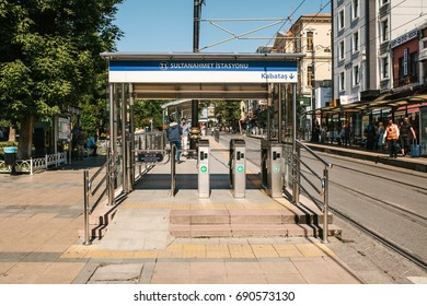 Istanbul, June 15, 2017: Sultanahmet urban over ground metro turnstile entrance to the station