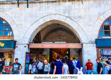 ISTANBUL - JUNE 2, 2019:Egyptian Bazaar or Spice Bazaar (Turkish: MISIR CARSISI) in Eminonu, Istanbul, Turkey. One of the oldest covered bazaars in  Istanbul.