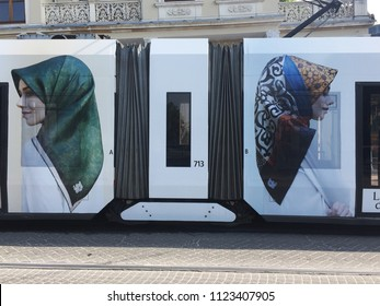 ISTANBUL - JUNE  21: A modern tram on Blue Mosque station on June 21, 2018 in Istanbul