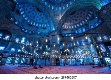 ISTANBUL - JUNE 24: Interior dome and artwork of The Blue Mosque (Sultanahmet) on June 24, 2014 in Istanbul, Turkey.The Blue Mosque is the biggest and one of the oldest mosque in Istanbul.