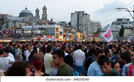 ISTANBUL - JUNE 29: People at Taksim Square during protests in Turkey on June 29, 2013 in Istanbul, Turkey. Gezi Park protests developed into anti-government demonstrations.
