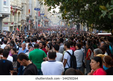 ISTANBUL - JUNE 29: People walking to Taksim Square during protests in Turkey on June 29, 2013 in Istanbul, Turkey. Gezi Park protests developed into anti-government demonstrations.