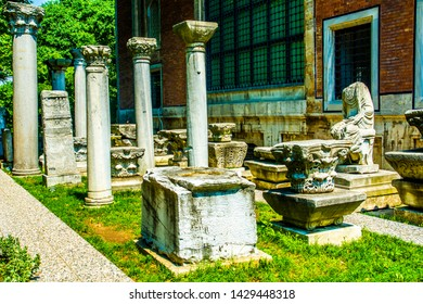 ISTANBUL - JUNE 5, 2019: Istanbul Archaeology Museum interior view huge collection of ancient Byzantine, Greek and Anatolian artsworks Istanbul City of Turkey.
