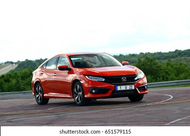 ISTANBUL - JUNE: The Honda Civic RS with the tenth generation of red color. June, 2017 Istanbul. Japanese automotive brand established by Soichiro Honda