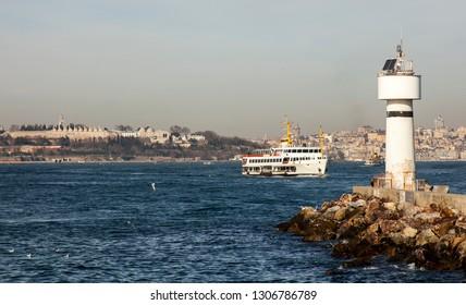 Istanbul Kadikoy (Inciburnu). Bosphorus and Topkapi Palace. Inciburnu Lighthouse.