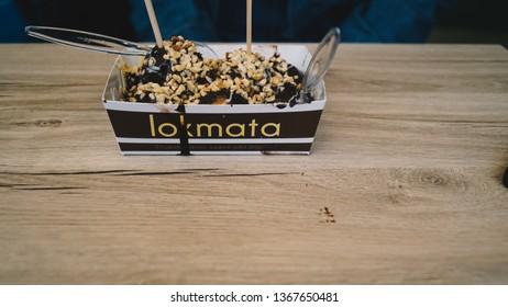 Istanbul, Kadikoy/ Turkey- 12.04.2019 : Lokmata and lokma's ,  special chocolatey dessert