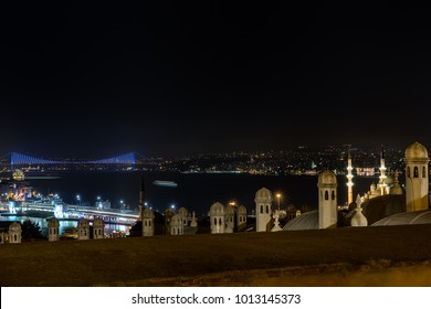 Istanbul Landscape. Among the minarets of the New Mosque, ''Hold us, O Fasting '' writes to the mahya. Istanbul View during Ramadan.