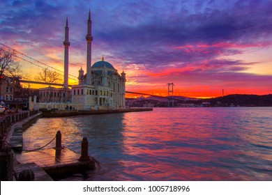Istanbul landscape beautiful sunrise with clouds Ortakoy Mosque and Bosphorus Bridge, Istanbul Turkey. Best touristic destination of Istanbul.
