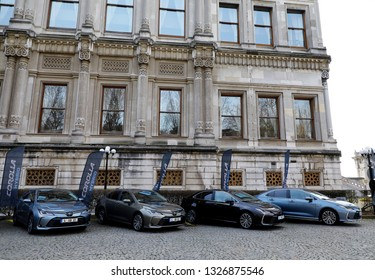 ISTANBUL - MARCH 01, 2019: The Toyota Corolla Hybrid car is a line of compact cars manufactured by Toyota is the production model, which was launched in 1966.
