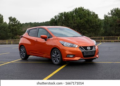 ISTANBUL - MARCH, 08 2020 : Nissan Micra K14 coded fifth generation, compact car produced by Japanese manufacturer, Nissan Motor Company