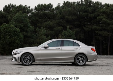 ISTANBUL - MARCH 09, 2019 : Mercedes-Benz C200 AMG 4Matic. C-Class is a line of compact executive cars produced by Daimler AG.