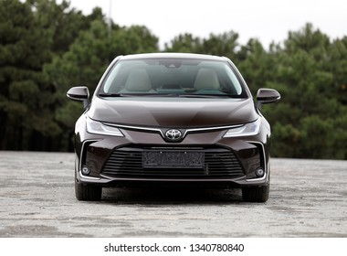 ISTANBUL - MARCH 17, 2019: The 12th generation Toyota Corolla Sedan car is a line of compact cars manufactured by Toyota is the production model, which was launched in 1966.