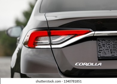 ISTANBUL - MARCH 17, 2019: The 12th generation Toyota Corolla Sedan car, tail light and logo is a line of compact cars manufactured by Toyota is the production model, which was launched in 1966.