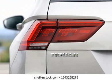 ISTANBUL - MARCH 19, 2019: The Volkswagen Tiguan is a compact crossover vehicle manufactured by German automaker Volkswagen.