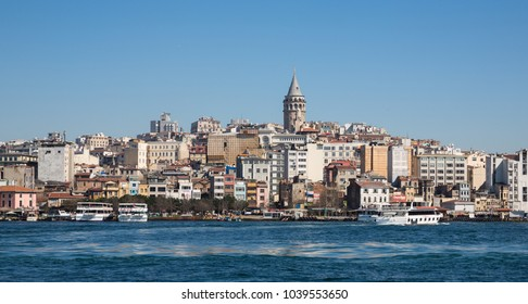 ISTANBUL - MARCH 19: Skyline of Istanbul with Galata Tower on March 10, 2014 in Istanbul, Turkey. This medieval stone tower is one of the city's most striking landmarks.