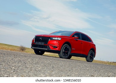 ISTANBUL - MARCH 24, 2019 : DS 7 Crossback is a compact luxury crossover SUV from the French automaker DS Automobiles.