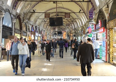 ISTANBUL, MARCH 26: Grand Bazaar interior on March 26, 2014 in Istanbul, Turkey. Istanbul is the capital of Turkey and the largest city in Europe, with a population of 14.2 million.