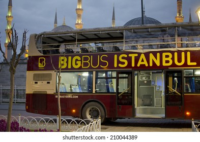 ISTANBUL, MARCH 26: tour bus near Hagia Sofia on March 27, 2014 in Istanbul, Turkey. Istanbul is the capital of Turkey and the largest city in Europe, with a population of 14.2 million.