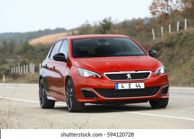 ISTANBUL - MARCH: The Peugeot 308 GTi is an impressive and dynamic red and black color developed by peugeot sport engineers. March, 2017 Istanbul. Peugeot today is parts of PSA Group Peugeot Citroen.