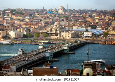 ISTANBUL - MAY 05, 2014: Eminonu harbor with berthed passenger ships on May 05, 2014 in Istanbul, Turkey.