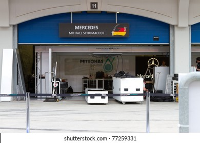 ISTANBUL - MAY 08: Michael Schumacher's garage pack up after 2011 F1 Turkish Grand Prix on May 08, 2011 Istanbul, Turkey