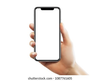 ISTANBUL - MAY 10, 2018: Apple iPhone X screen with empty screen holding by a female hand against isolated white background.