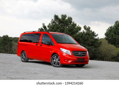 ISTANBUL - MAY 10, 2019 : Mercedes-Benz Vito Tourer 119 CDI produced by Mercedes Benz, light commercial vehicle 8+1 passenger as cargo van, pickup truck.